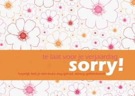 Verjaardagskaarten - 12052 Verjaardagskaart Sorry te laat