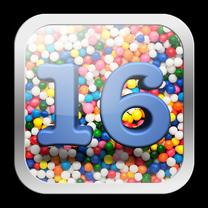 Verjaardagskaarten - 16 jaar app met vrolijke achtergrond