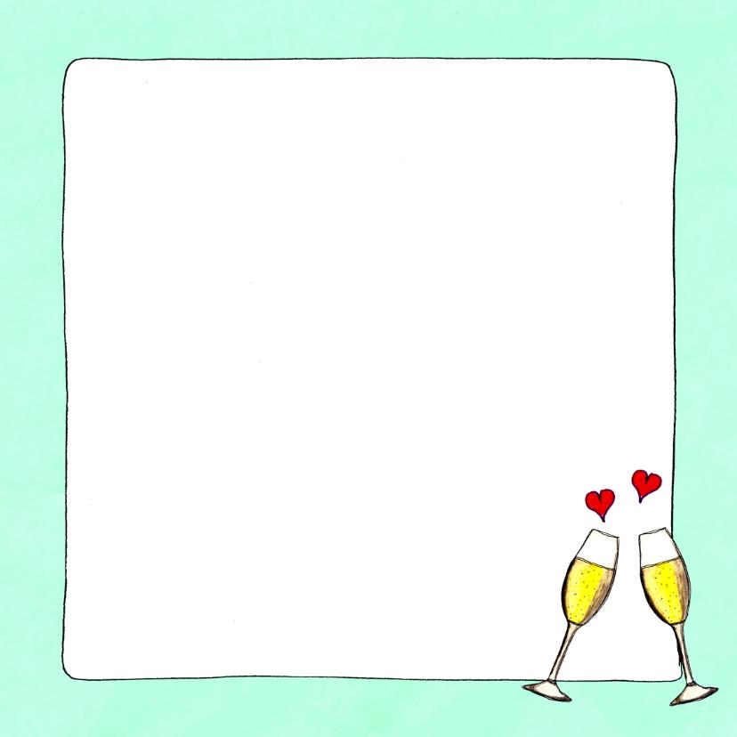 Jubileumkaart .. jaar samen met foto en champagneglazen - SD 3