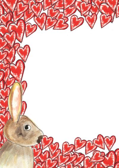 2 verliefde konijnen met hart 2