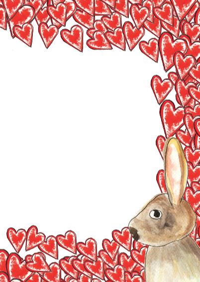 2 verliefde konijnen met hart 3