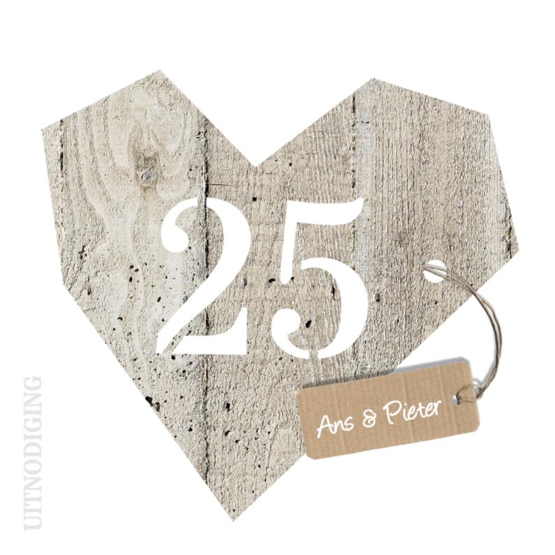 Jaar huwelijk houten hart jubileumkaarten kaartje go