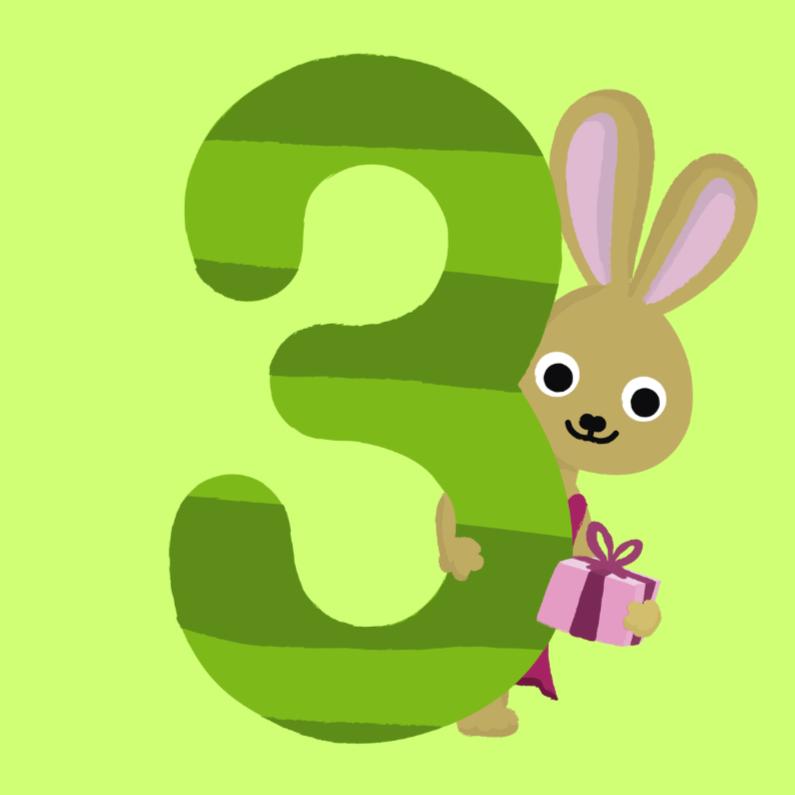 3 jaar verjaardag konijn verjaardagskaarten kaartje2go for Poppenhuis kind 2 jaar