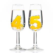 Verjaardagskaarten - 45 in champagneglazen