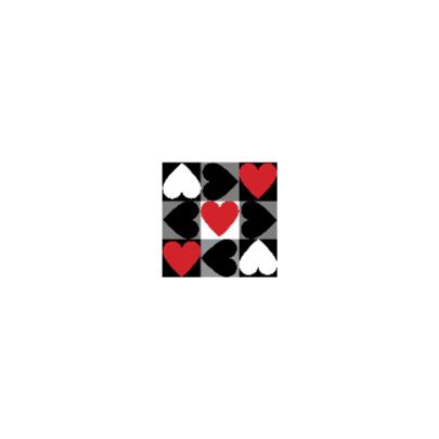 4k Hartjesserie rood-zwart-wit 5van6 2