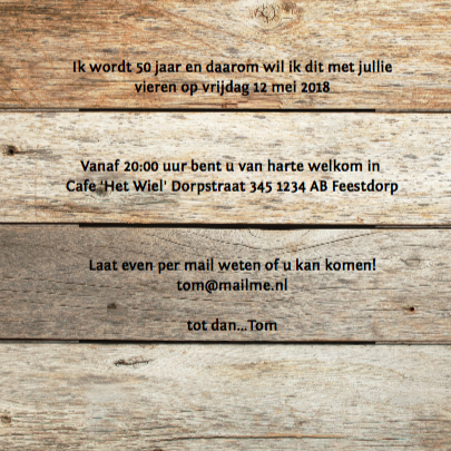 50 jaar feest- uitnodiging met hout 3