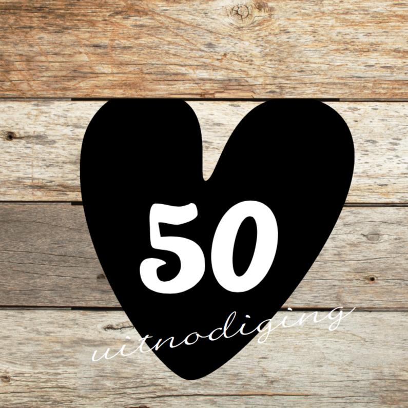 Iets Nieuws 50 jaar feest- uitnodiging met hout | Kaartje2go &VH33
