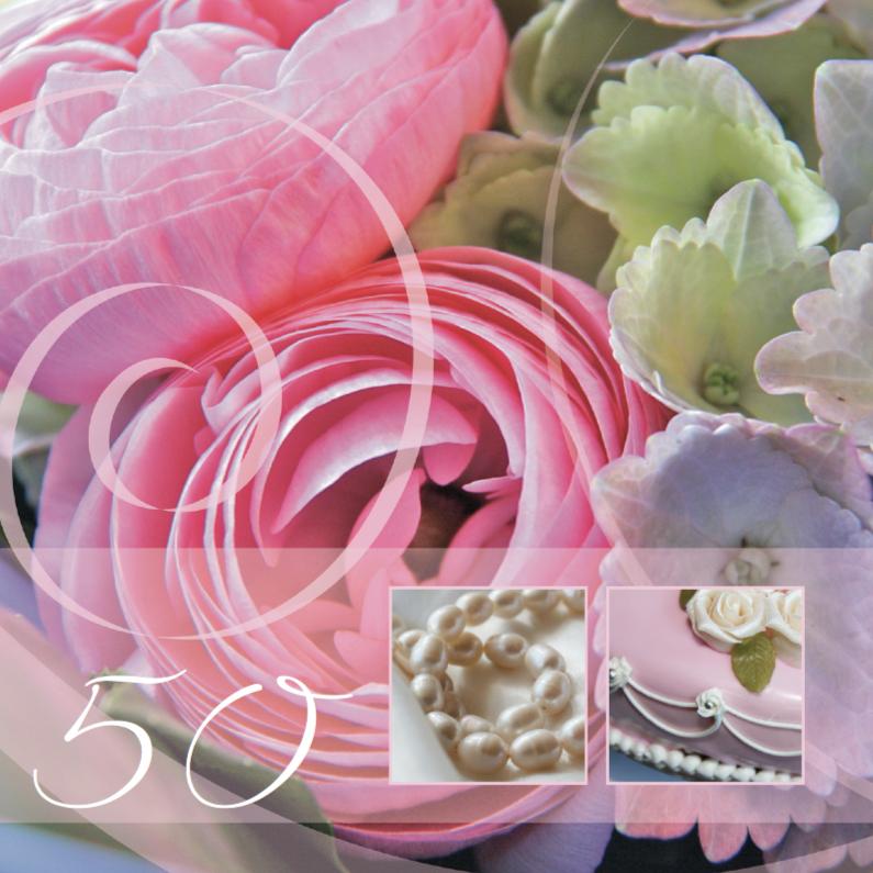 Jaar getrouwd ranonkel roze jubileumkaarten kaartje go