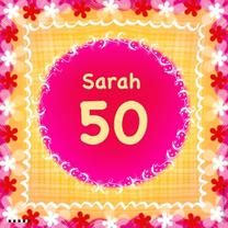 Verjaardagskaarten - 50 Sarah bloemetjes rood wit geel