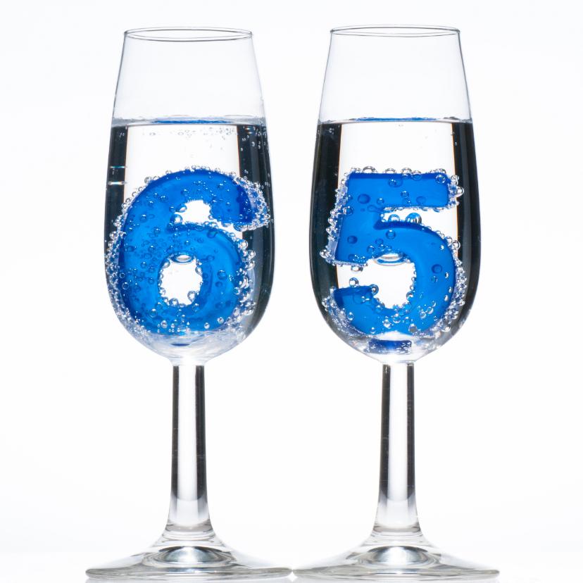 65 in champagne glazen - verjaardagskaarten
