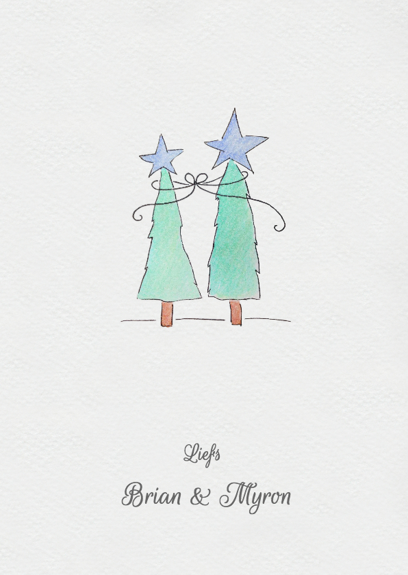Aquarel kerstbomen 3