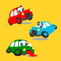 Kinderkaarten - Autokaart met grappige auto's!