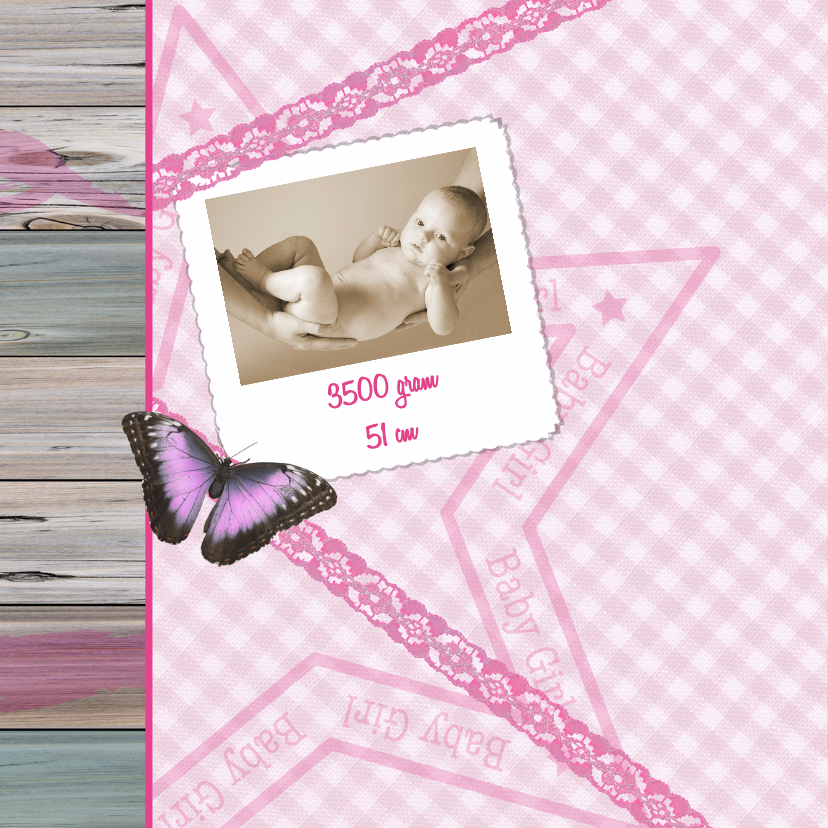 BABY GIRL vlinder lint roze 2