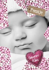 Uitnodigingen - Babyfeestje Ster muisjes roze