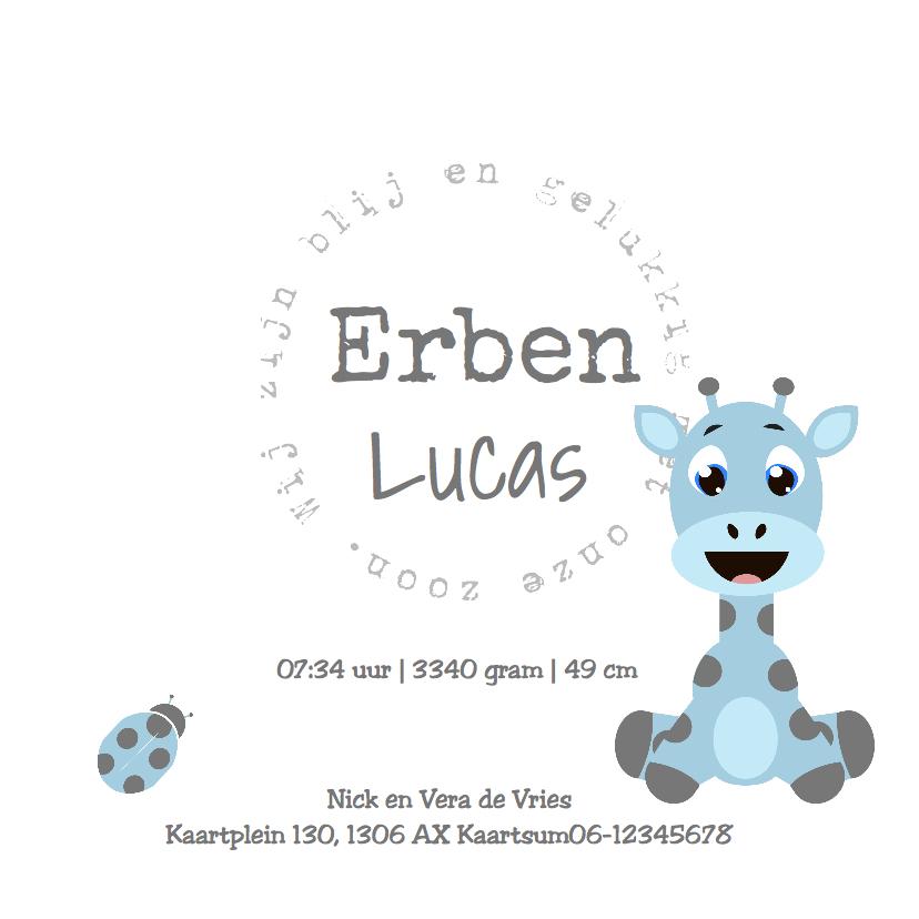 babykaartje Giraf Jongen - LOVZ 3