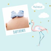 Uitnodigingen - Babyshower jongen flamingo