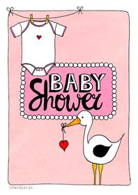 Uitnodigingen - Babyshower meisje - SD
