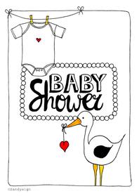 Uitnodigingen - Babyshower ooievaar romper - SD