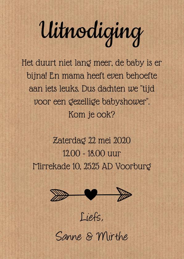 Babyshower uitnodiging ooievaar roze 3