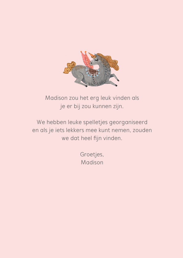 Babyshower uitnodiging unicorn 3