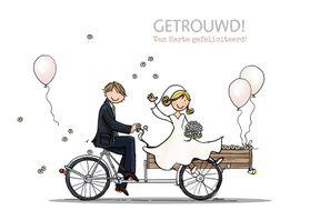Felicitatiekaarten - Bakfiets bruidegom bruid