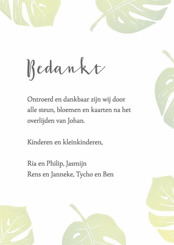 Bedankkaart groene bladeren 3