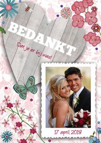 Trouwkaarten - Bedankkaart Huwelijk Hout Hart Bloemen