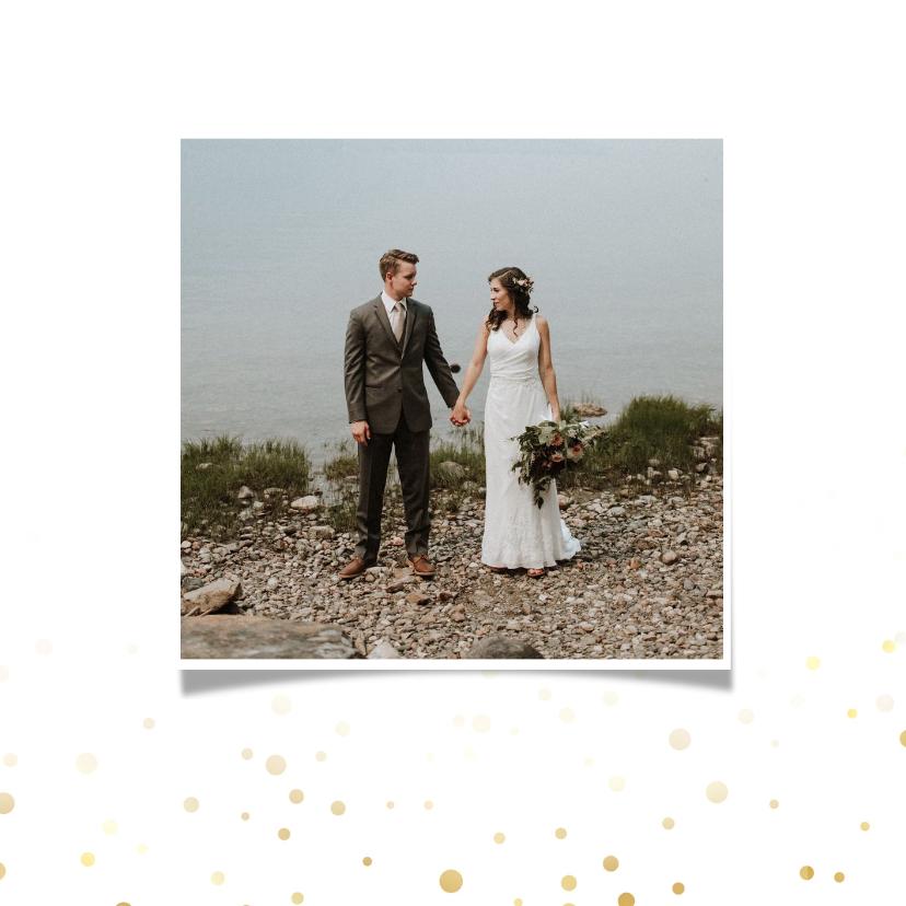 Bedankkaart huwelijk met foto goud 2