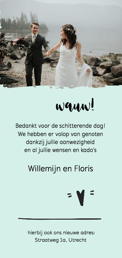 Bedankkaart huwelijk modern foto langwerpig achterkant