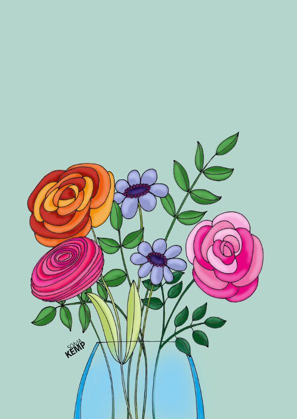 Bedankkaart kat met vaas bloemen - SK 2