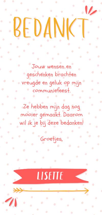 Bedankkaart meisje typografisch met confetti en eigen foto  Achterkant