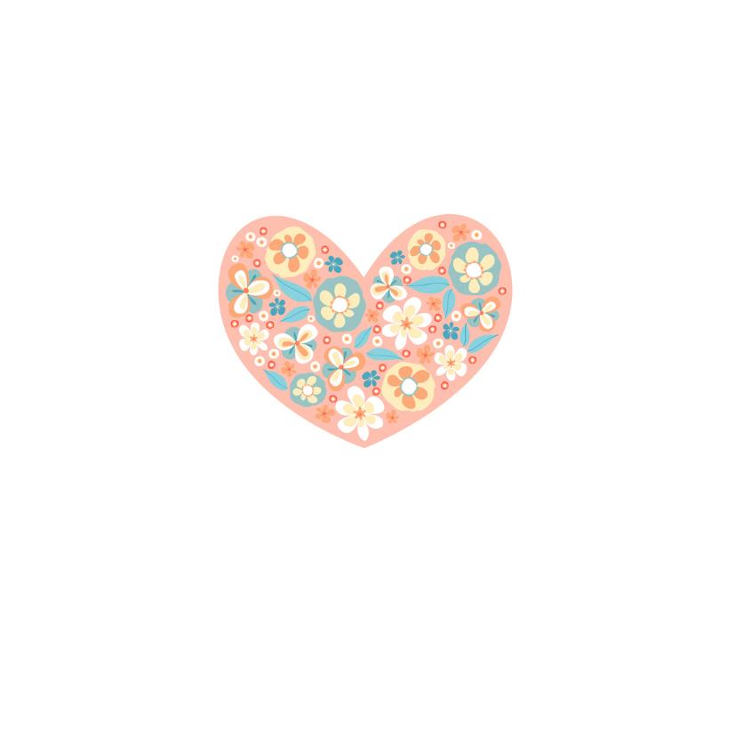 Bedankkaart met bloemenhart 2