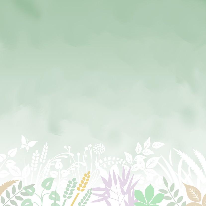Bedankkaart met foto en gewassen ondergrond met blaadjes 2