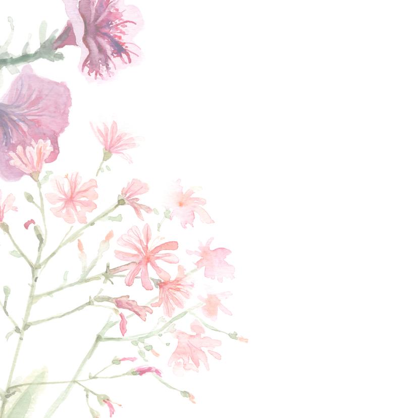 Bedankkaart met geschilderde bloemen 2
