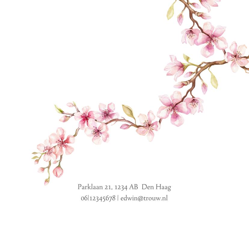 Bedankkaart met kersenbloesem 2