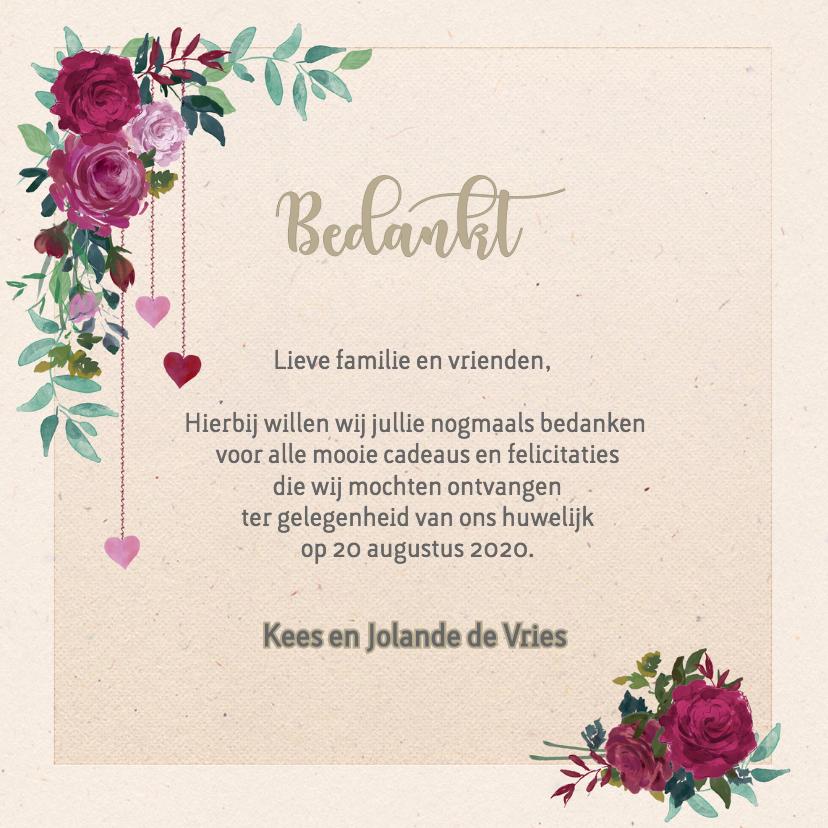 Bedankkaart met rozen trouwkaarten kaartje go