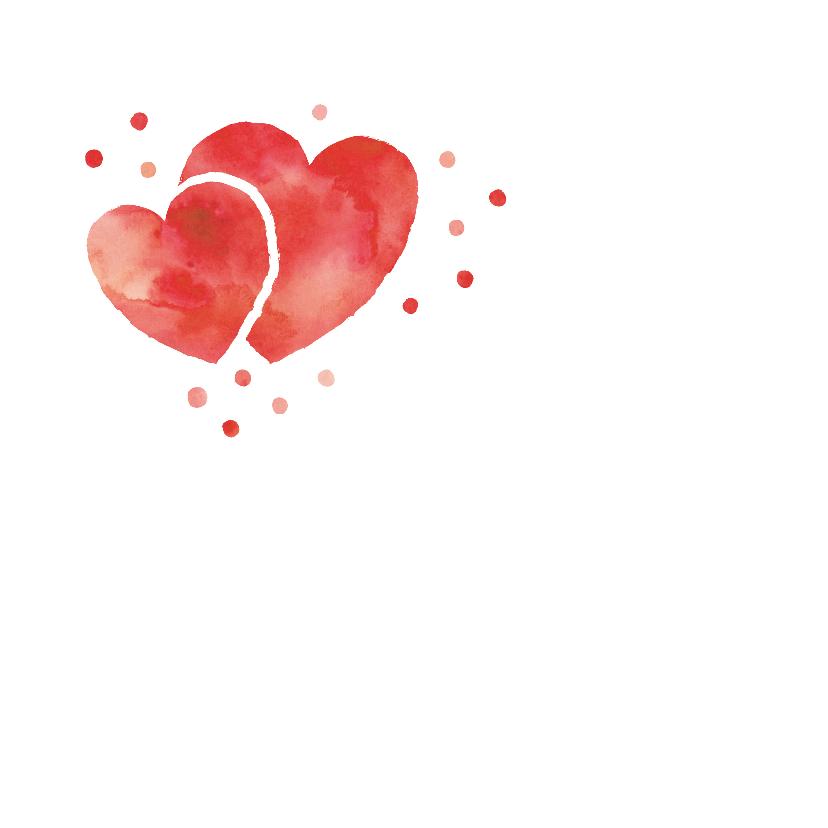 Bedankkaart rood hart confetti 2