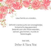 Trouwkaarten - Bedankkaart roze-rode rozen