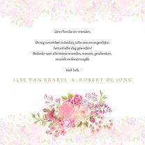 Trouwkaarten - Bedankkaart rozen pastel