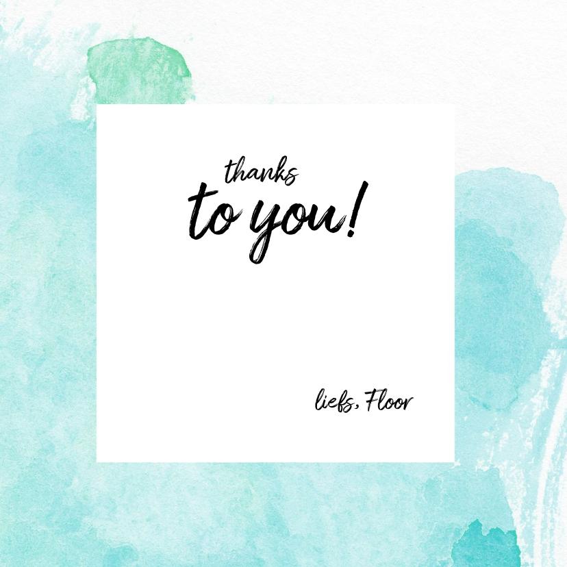 Bedankkaart -thanks aquarel hartjes 3