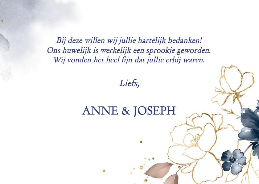 Bedankkaart trouw roos, blauw en goud 3