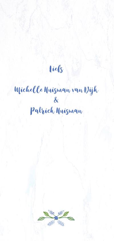 Bedankkaart voor trouwen met blauwe krans achterkant