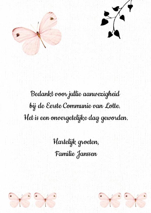 Bedankkaartje Eerste Communie met lieve roze vlinders  3