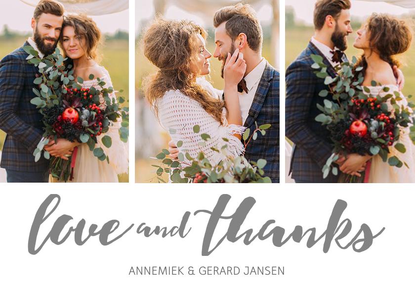 Bedankkaartje huwelijk foto s trouwkaarten kaartje go