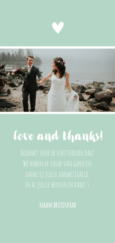 Bedankkaartje langwerpig trouwen Achterkant
