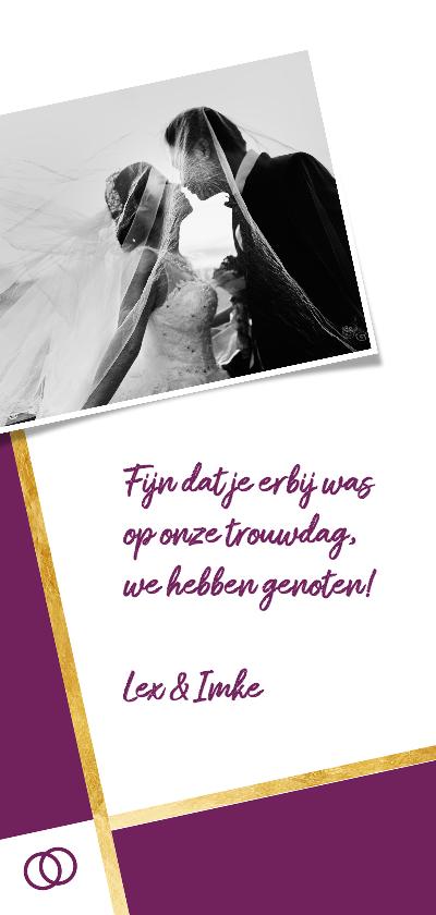 Bedankkaartje paars met foto achterkant