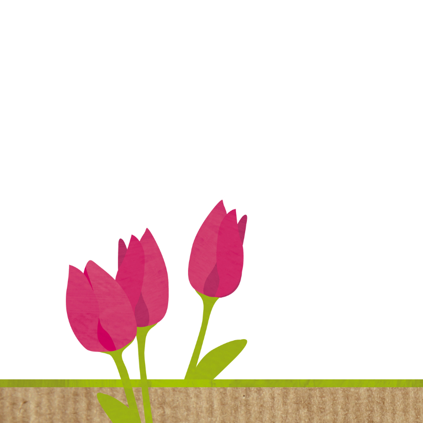 Bedankkaartje  tekst en tulpen 2