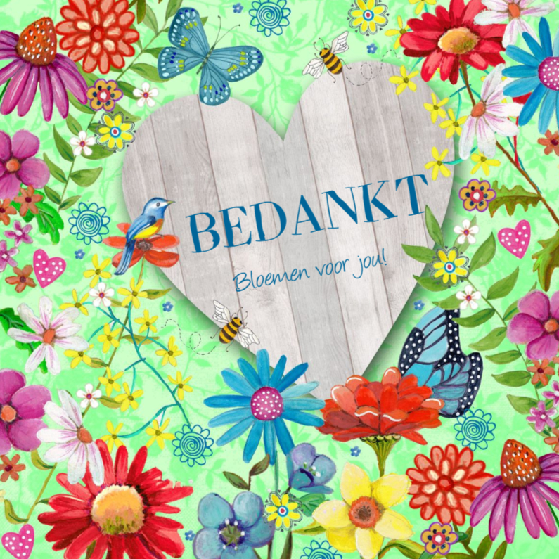 Uitzonderlijk Bedankt Bloemen HART HOUT vlinders - Bedankkaartjes - Kaartje2go IY77