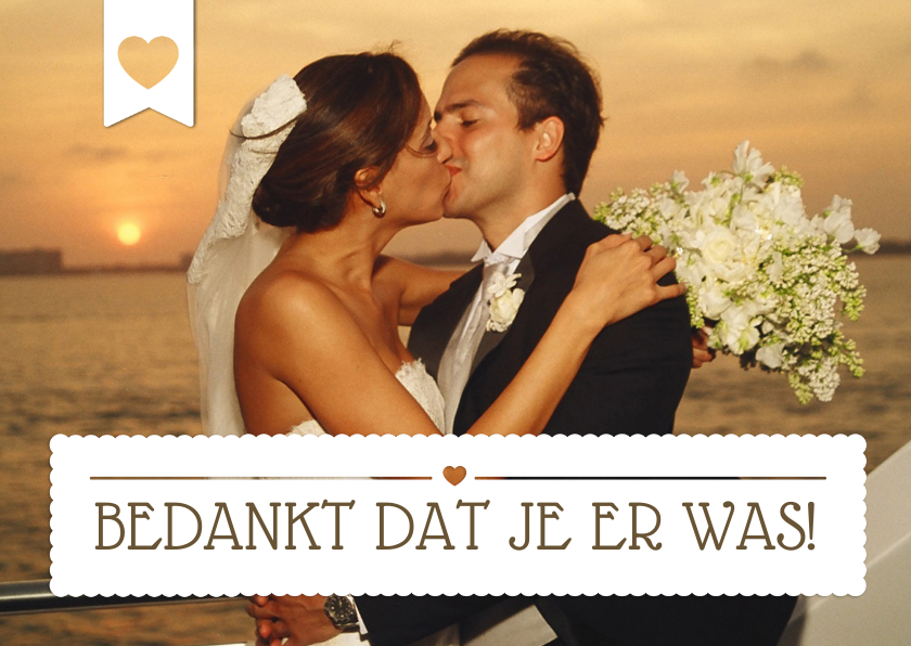 Bedankt huwelijk eigen foto trouwkaarten kaartje go