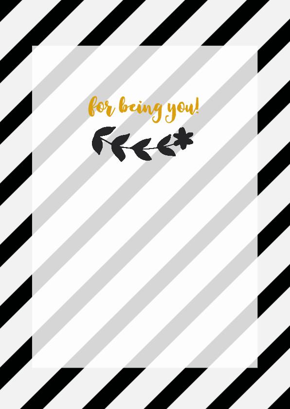 Bedankt - thank you in zwart/wit/goud 3